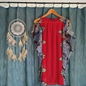 Tops - Sheer Red & Blue Shirt